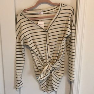 Tops - Black & White Striped Tie Front Top
